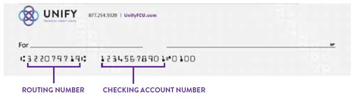 Image of UNIFY Check illustrating where the routing number and account number are located on the bottom of the check