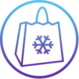 Image of a shopping back with a photo of a snowflake on it